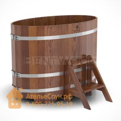 Купель для бани из лиственницы овальная 0,8х1,42 м (мореная, полимерное покрытие, H = 1,0 м)