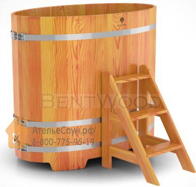 Купель для бани из лиственницы овальная 0,8х1,42 м (натуральная, полимерное покрытие, H = 1,2 м)