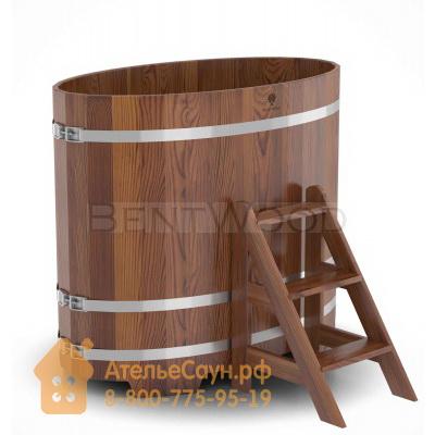 Купель для бани из лиственницы овальная 0,8х1,42 м (мореная, полимерное покрытие, H = 1,2 м)