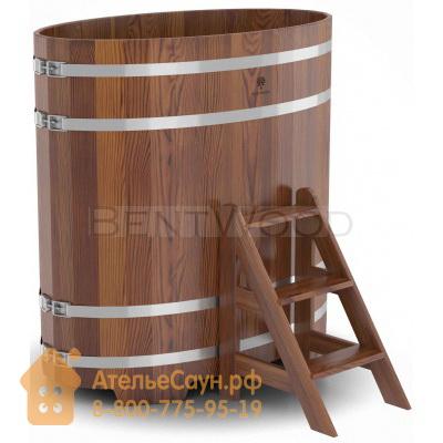 Купель для бани из лиственницы овальная 0,8х1,42 м (мореная, полимерное покрытие, H = 1,4 м)