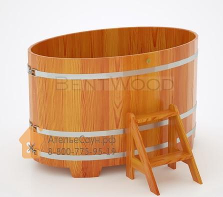 Купель для бани из лиственницы овальная 0,95х1,60 м (натуральная, полимерное покрытие, H = 1,0 м)