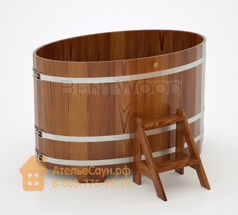 Купель для бани из лиственницы овальная 0,95х1,60 м (мореная, полимерное покрытие, H = 1,0 м)