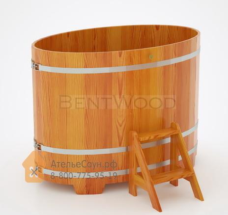 Купель для бани из лиственницы овальная 0,95х1,60 м (натуральная, полимерное покрытие, H = 1,2 м)