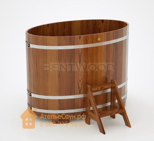 Купель для бани из лиственницы овальная 0,95х1,60 м (мореная, полимерное покрытие, H = 1,2 м)