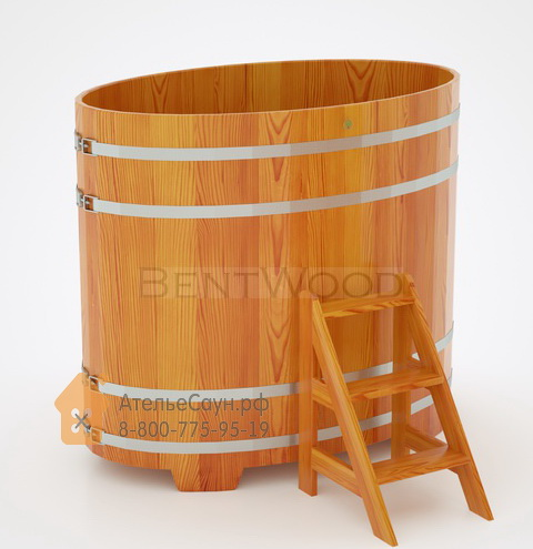 Купель для бани из лиственницы овальная 0,95х1,60 м (натуральная, полимерное покрытие, H = 1,4 м)