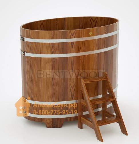 Купель для бани из лиственницы овальная 0,95х1,60 м (мореная, полимерное покрытие, H = 1,4 м)