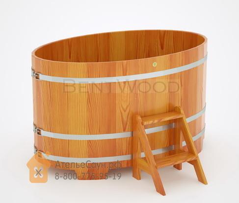 Купель для бани из лиственницы овальная 1,02х1,68 м (натуральная, полимерное покрытие, H = 1,0 м)