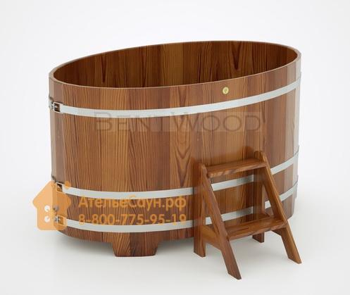 Купель для бани из лиственницы овальная 1,02х1,68 м (мореная, полимерное покрытие, H = 1,0 м)
