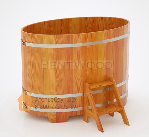 Купель для бани из лиственницы овальная 1,02х1,68 м (натуральная, полимерное покрытие, H = 1,2 м)