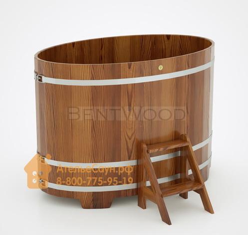 Купель для бани из лиственницы овальная 1,02х1,68 м (мореная, полимерное покрытие, H = 1,2 м)