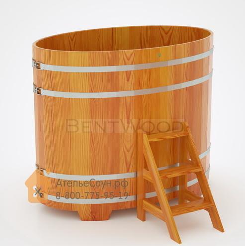Купель для бани из лиственницы овальная 1,02х1,68 м (натуральная, полимерное покрытие, H = 1,4 м)