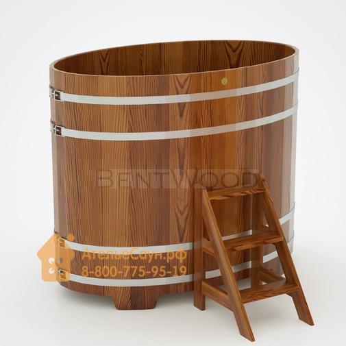 Купель для бани из лиственницы овальная 1,02х1,68 м (мореная, полимерное покрытие, H = 1,4 м)