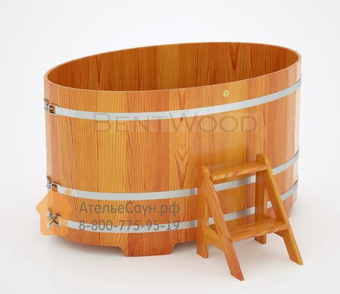 Купель для бани из лиственницы овальная 1,08х1,75 м (натуральная, полимерное покрытие, H = 1,0 м)