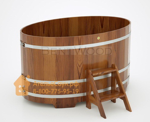 Купель для бани из лиственницы овальная 1,08х1,75 м (мореная, полимерное покрытие, H = 1,0 м)