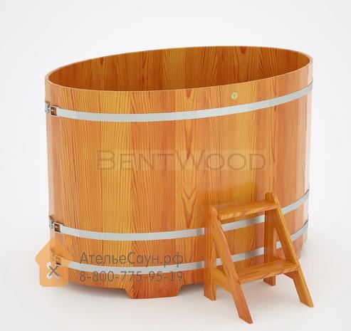 Купель для бани из лиственницы овальная 1,08х1,75 м (натуральная, полимерное покрытие, H = 1,2 м)
