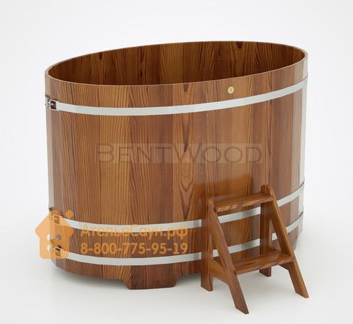 Купель для бани из лиственницы овальная 1,08х1,75 м (мореная, полимерное покрытие, H = 1,2 м)