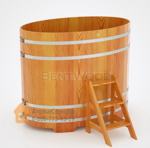 Купель для бани из лиственницы овальная 1,08х1,75 м (натуральная, полимерное покрытие, H = 1,4 м)