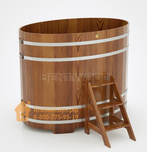 Купель для бани из лиственницы овальная 1,08х1,75 м (мореная, полимерное покрытие, H = 1,4 м)