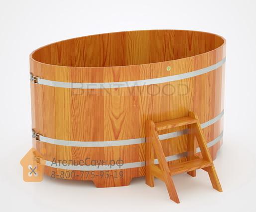 Купель для бани из лиственницы овальная 1,15х1,83 м (натуральная, полимерное покрытие, H = 1,0 м)