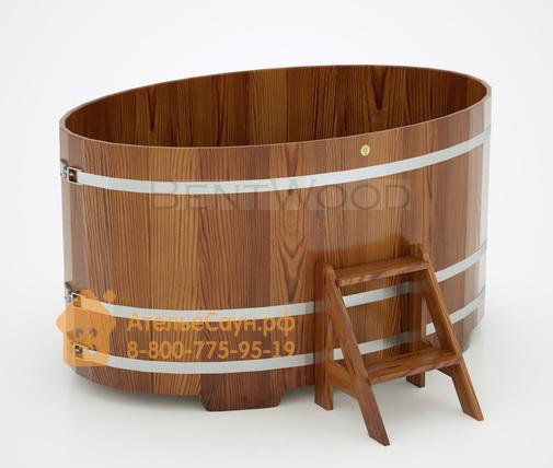 Купель для бани из лиственницы овальная 1,15х1,83 м (мореная, полимерное покрытие, H = 1,0 м)