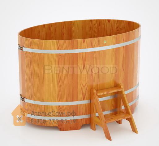 Купель для бани из лиственницы овальная 1,15х1,83 м (натуральная, полимерное покрытие, H = 1,2 м)