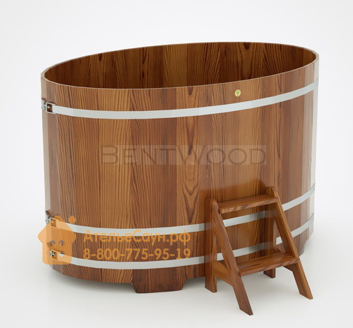 Купель для бани из лиственницы овальная 1,15х1,83 м (мореная, полимерное покрытие, H = 1,2 м)