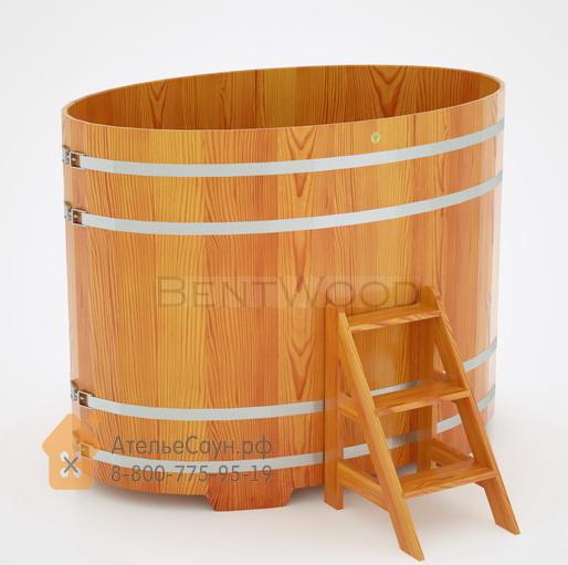 Купель для бани из лиственницы овальная 1,15х1,83 м (натуральная, H = 1,4 м)