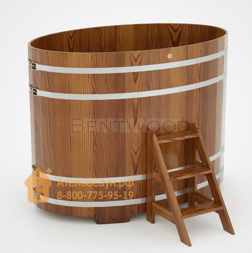 Купель для бани из лиственницы овальная 1,15х1,83 м (мореная, H = 1,4 м)