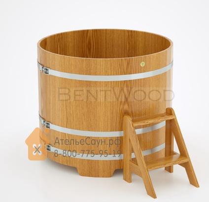 Купель для бани дубовая круглая D = 1,17 м (натуральный дуб, полимерное покрытие, H = 1,0 м)