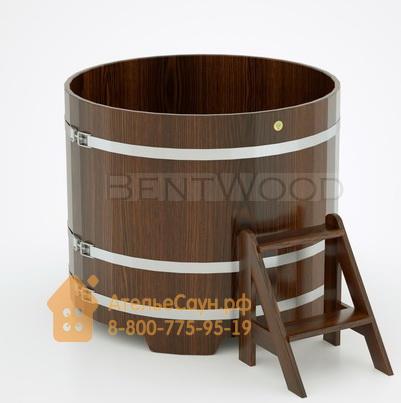 Купель для бани дубовая круглая D = 1,17 м (мореный дуб, полимерное покрытие, H = 1,0 м)