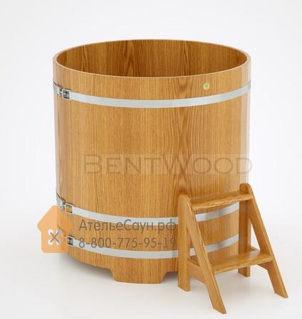 Купель для бани дубовая круглая D = 1,17 м (натуральный дуб, полимерное покрытие, H = 1,2 м)