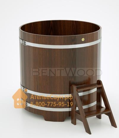 Купель для бани дубовая круглая D = 1,17 м (мореный дуб, полимерное покрытие, H = 1,2 м)