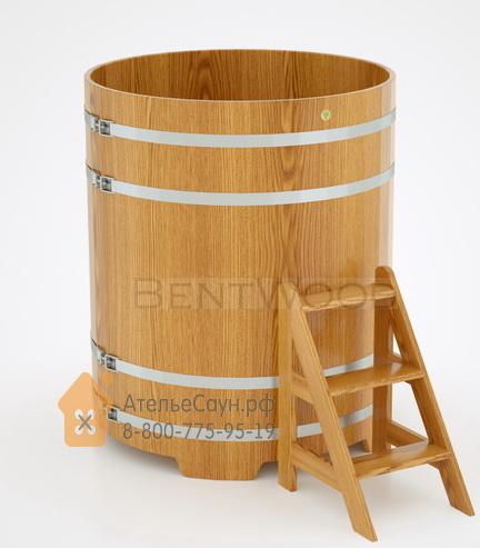 Купель для бани дубовая круглая D = 1,17 м (натуральный дуб, полимерное покрытие, H = 1,4 м)