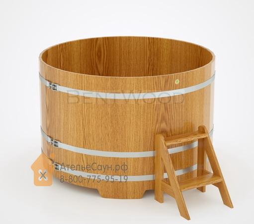 Купель для бани дубовая круглая D = 1,5 м (натуральный дуб, полимерное покрытие, H = 1,0 м)