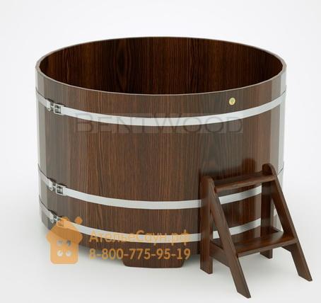 Купель для бани дубовая круглая D = 1,5 м (мореный дуб, полимерное покрытие, H = 1,0 м)