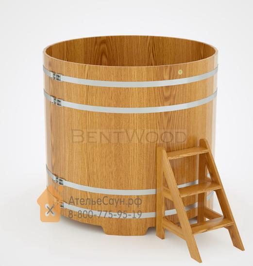 Купель для бани дубовая круглая D = 1,5 м (натуральный дуб, полимерное покрытие, H = 1,4 м)