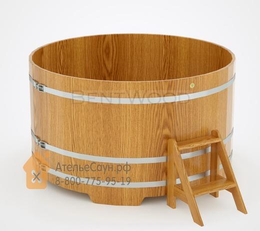 Купель для бани дубовая круглая D = 1,8 м (натуральный дуб, полимерное покрытие, H = 1,0 м)