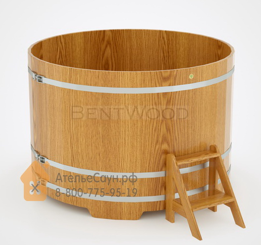 Купель для бани дубовая круглая D = 1,8 м (натуральный дуб, H = 1,2 м)