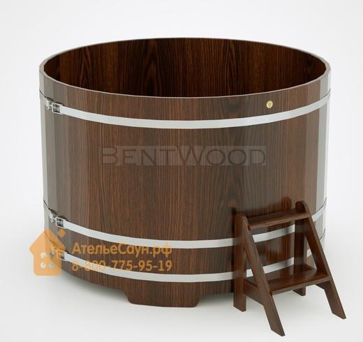 Купель для бани дубовая круглая D = 1,8 м (мореный дуб, H = 1,2 м)