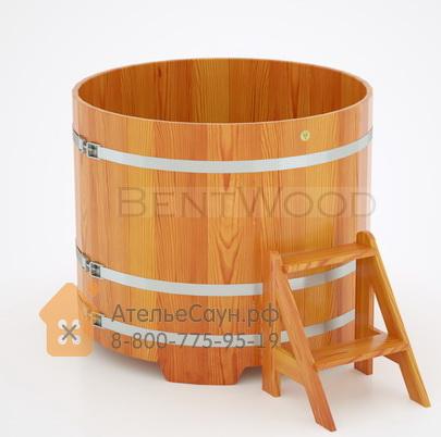 Купель для бани из лиственницы круглая  D = 1,17 м (натуральная, полимерное покрытие, H = 1,0 м)