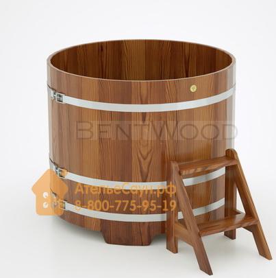 Купель для бани из лиственницы круглая  D = 1,17 м (мореная, полимерное покрытие, H = 1,0 м)
