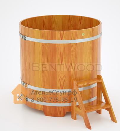Купель для бани из лиственницы круглая D = 1,17 м (натуральная, полимерное покрытие, H = 1,2 м)