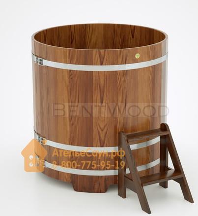 Купель для бани из лиственницы круглая D = 1,17 м (мореная, полимерное покрытие, H = 1,2 м)