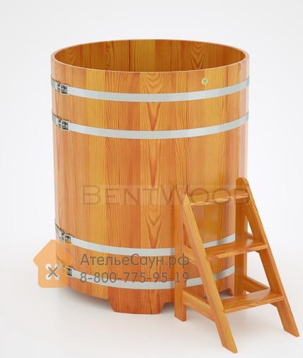Купель для бани из лиственницы круглая D = 1,17 м (натуральная, полимерное покрытие, H = 1,4 м)