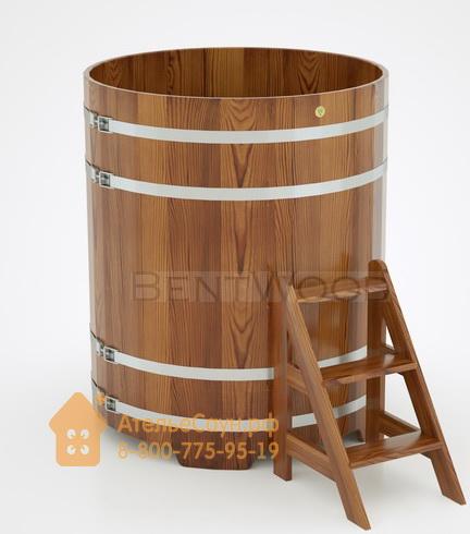 Купель для бани из лиственницы круглая D = 1,17 м (мореная, полимерное покрытие, H = 1,4 м)