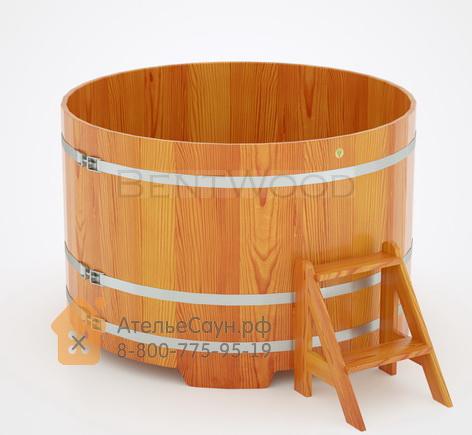 Купель для бани из лиственницы круглая D = 1,5 м (натуральная, полимерное покрытие, H = 1,0 м)