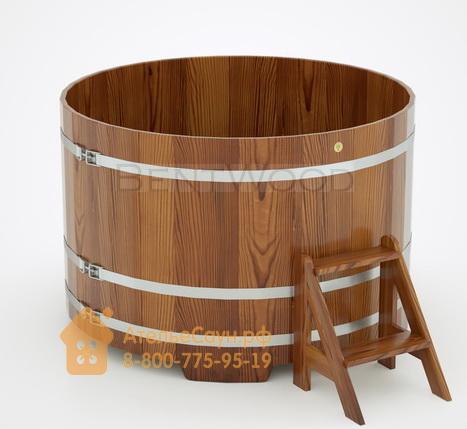 Купель для бани из лиственницы круглая D = 1,5 м (мореная, полимерное покрытие, H = 1,0 м)