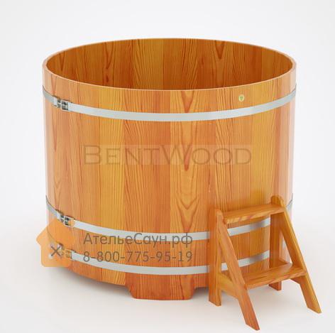 Купель для бани из лиственницы круглая D = 1,5 м (натуральная, полимерное покрытие, H = 1,2 м)