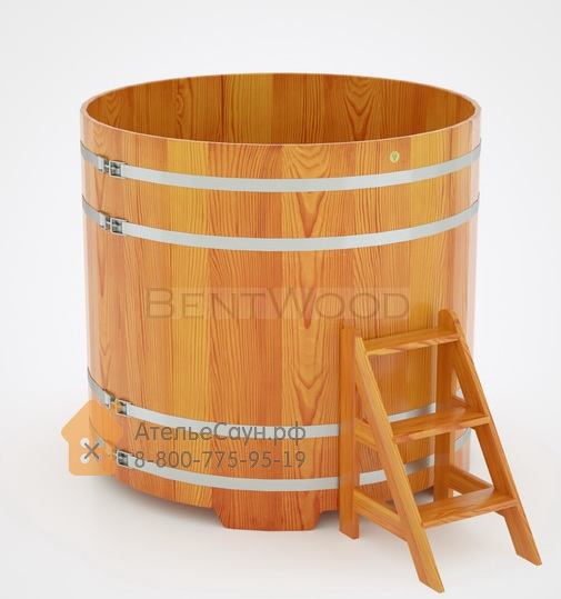 Купель для бани из лиственницы круглая D = 1,5 м (натуральная, полимерное покрытие, H = 1,4 м)