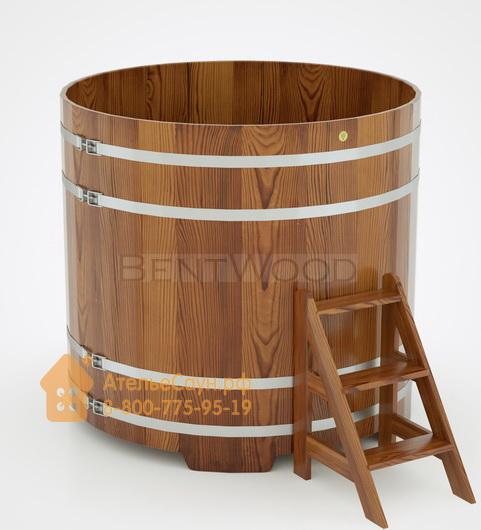 Купель для бани из лиственницы круглая D = 1,5 м (мореная, полимерное покрытие, H = 1,4 м)